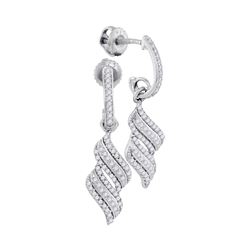 0.33 CTW Diamond Cascade Ribbon Dangle Earrings 10KT White Gold - REF-30X2Y