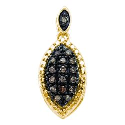 0.22 CTW Cognac-brown Color Diamond Cluster Pendant 10KT Yellow Gold - REF-12W2K