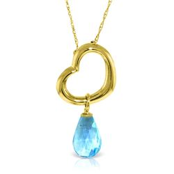 Genuine 2.25 ctw Blue Topaz Necklace Jewelry 14KT Yellow Gold - REF-27T4A