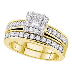 1 CTW Princess Diamond Bridal Engagement Ring 14KT Yellow Gold - REF-109K4W