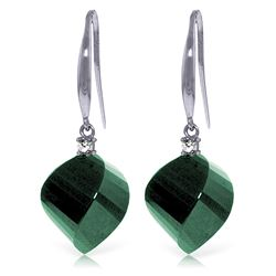 Genuine 30.6 ctw Green Sapphire Corundum & Diamond Earrings Jewelry 14KT White Gold - REF-51T9A