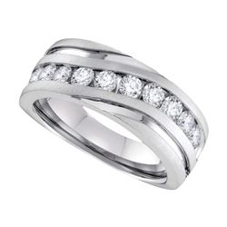 0.50 CTW Mens Diamond Wedding Ring 10KT White Gold - REF-59Y9X