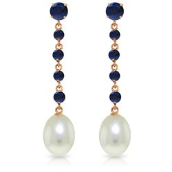 Genuine 10 ctw Sapphire & Pearl Earrings Jewelry 14KT Rose Gold - REF-37M8T