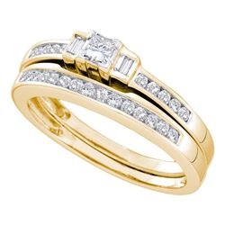 0.45 CTW Princess Diamond Bridal Engagement Ring 14KT Yellow Gold - REF-57N2F