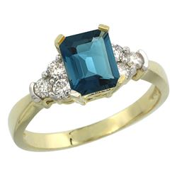 Natural 1.48 ctw london-blue-topaz & Diamond Engagement Ring 14K Yellow Gold - REF-52H7W