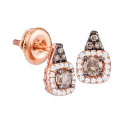 0.39 CTW Cognac-brown Color Diamond Solitaire Square Earrings 14KT Rose Gold - REF-41Y9X