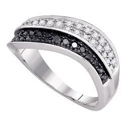 0.33 CTW Black Color Diamond Cocktail Ring 10KT White Gold - REF-30F2N