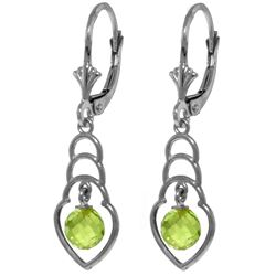 Genuine 1.25 ctw Peridot Earrings Jewelry 14KT White Gold - REF-25R6P