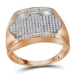 0.50 CTW Mens Diamond Rectangle Arched Cluster Ring 10KT Rose Gold - REF-33W8K