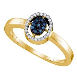 0.15 CTW Blue Color Diamond Oval Cluster Ring 10KT Yellow Gold - REF-13M4H