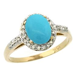 Natural 1.3 ctw Turquoise & Diamond Engagement Ring 14K Yellow Gold - REF-33Z8Y