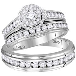 1.67 CTW His & Hers Diamond Solitaire Matching Bridal Ring 14KT White Gold - REF-179W9K