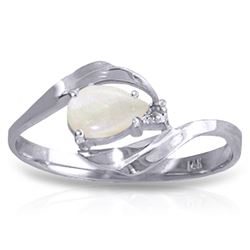 Genuine 0.26 ctw Opal & Diamond Ring Jewelry 14KT White Gold - REF-26M9T