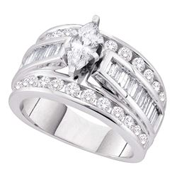 2 CTW Marquise Diamond EGL Certified Bridal Anniversary Ring 14k White Gold - REF-269F9N