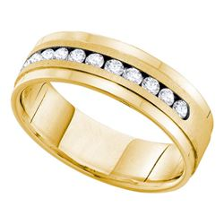 0.50 CTW Mens Channel-set Diamond Single Row Wedding Ring 14KT Yellow Gold - REF-89K9W