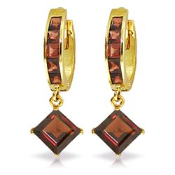 Genuine 4.4 ctw Garnet Earrings Jewelry 14KT Yellow Gold - REF-56V8W
