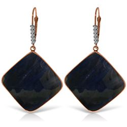 Genuine 43.65 ctw Sapphire & Diamond Earrings Jewelry 14KT Rose Gold - REF-137K2V