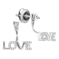 0.10 CTW Diamond Love Stud Jacket Earrings 10KT White Gold - REF-12H2M