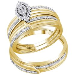 0.33 CTW Diamond His & Hers Matching Trio Engagement Bridal Ring 10KT Yellow Gold - REF-41H2M