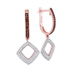 0.41 CTW Red Color Diamond Square Dangle Hoop Earrings 10KT Rose Gold - REF-37M5H