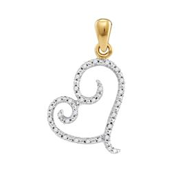 0.10 CTW Diamond Curled Heart Pendant 10KT Yellow Gold - REF-10M5H