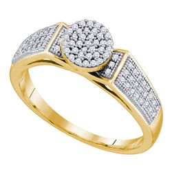 0.25 CTW Diamond Cradled Cluster Bridal Ring 10KT Yellow Gold - REF-22W4K