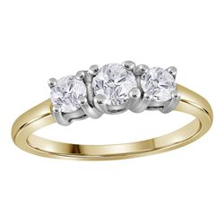 0.75 CTW Diamond 3-stone Bridal Engagement Ring 14KT Yellow Gold - REF-112Y5X