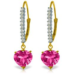 Genuine 3.55 ctw Pink Topaz & Diamond Earrings Jewelry 14KT Yellow Gold - REF-63R3P