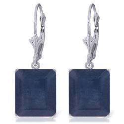 Genuine 14 ctw Sapphire Earrings Jewelry 14KT White Gold - REF-121Z7N