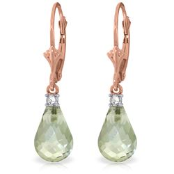 Genuine 4.6 ctw Green Amethyst & Diamond Earrings Jewelry 14KT Rose Gold - REF-30W2Y