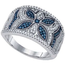 0.40 CTW Blue Color Diamond Milgrain Floral Ring 10KT White Gold - REF-49W5K