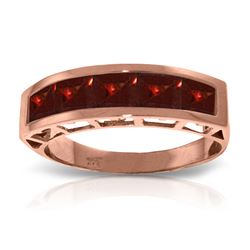 Genuine 2.25 ctw Garnet Ring Jewelry 14KT Rose Gold - REF-54F2Z