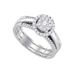0.50 CTW Diamond Bridal Wedding Engagement Ring 14KT White Gold - REF-71K9W