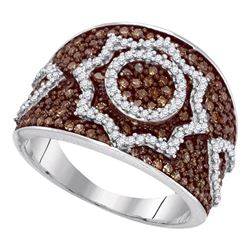 1 CTW Brown Color Diamond Starburst Fashion Ring 10KT White Gold - REF-52W4K