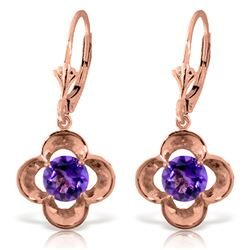 Genuine 1.10 ctw Amethyst Earrings Jewelry 14KT Rose Gold - REF-37M7T