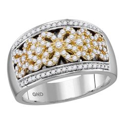 0.53 CTW Diamond Flower Double Row Ring 14KT Two-tone Gold - REF-97X4Y
