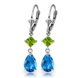 Genuine 4.5 ctw Blue Topaz & Peridot Earrings Jewelry 14KT White Gold - REF-41K4V