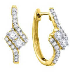 0.50 CTW Diamond 2-stone Hearts Together Bypass Hoop Earrings 14KT Yellow Gold - REF-52X4Y