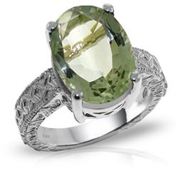 Genuine 7.5 ctw Green Amethyst Ring Jewelry 14KT White Gold - REF-125F9Z