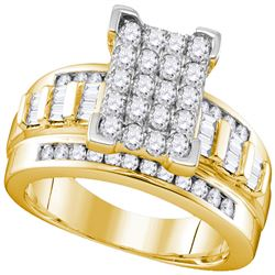 0.84 CTW Diamond Rectangle Cluster Bridal Engagement Ring 10KT Yellow Gold - REF-62K9W