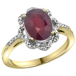 Natural 2.24 ctw Ruby & Diamond Engagement Ring 10K Yellow Gold - REF-52G6M