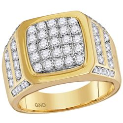 2 CTW Mens Diamond Square Cluster Ring 14KT Yellow Gold - REF-172M4H
