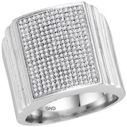 0.74 CTW Diamond Square Cluster Ring 10KT White Gold - REF-75Y2X