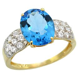Natural 2.75 ctw swiss-blue-topaz & Diamond Engagement Ring 14K Yellow Gold - REF-58A4V