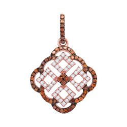 0.50 CTW Red Color Diamond Square Cluster Pendant 10KT Rose Gold - REF-25F4N