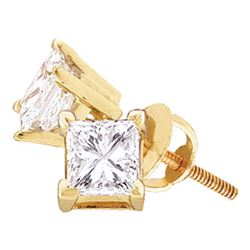 0.20 CTW Princess Diamond Solitaire Stud Earrings 14KT Yellow Gold - REF-20M9H