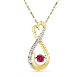 0.30 CTW Created Ruby Moving Twinkle Solitaire Infinity Pendant 10KT Yellow Gold - REF-14K9W