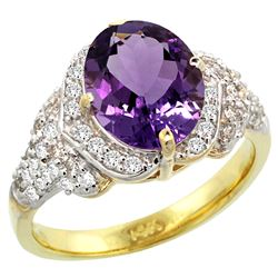 Natural 2.92 ctw amethyst & Diamond Engagement Ring 14K Yellow Gold - REF-102Y7X