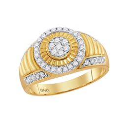 0.75 CTW Mens Diamond Cluster Circle Ribbed Ring 10KT Yellow Gold - REF-65K3W