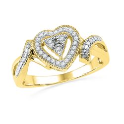 0.10 CTW Diamond Heart Cluster Ring 10KT Yellow Gold - REF-22K4W